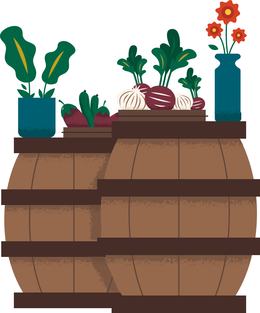 Organic Produce for sale illustration
